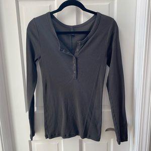 Grey long sleeve partial button down.